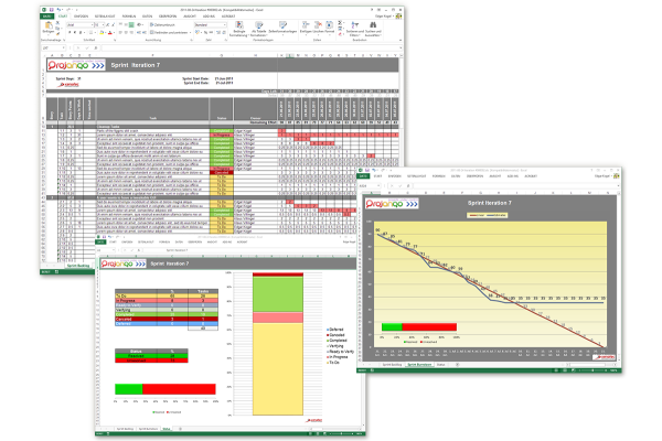 Projango - visuelles Workmanagement für agile Teams | Berichterzeugung | Export in MS-Excel